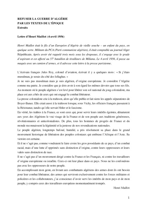 RESISTER LA GUERRE D'ALGERIE, PAR LES TEXTES DE L'EPOQUE