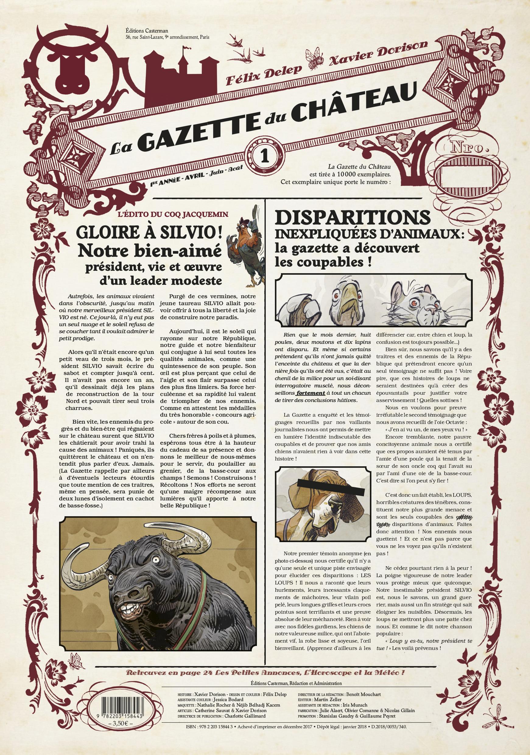 LE CHATEAU DES ANIMAUX T1 - GAZETTE 1/3