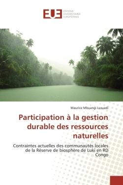 PARTICIPATION A LA GESTION DURABLE DES RESSOURCES NATURELLES