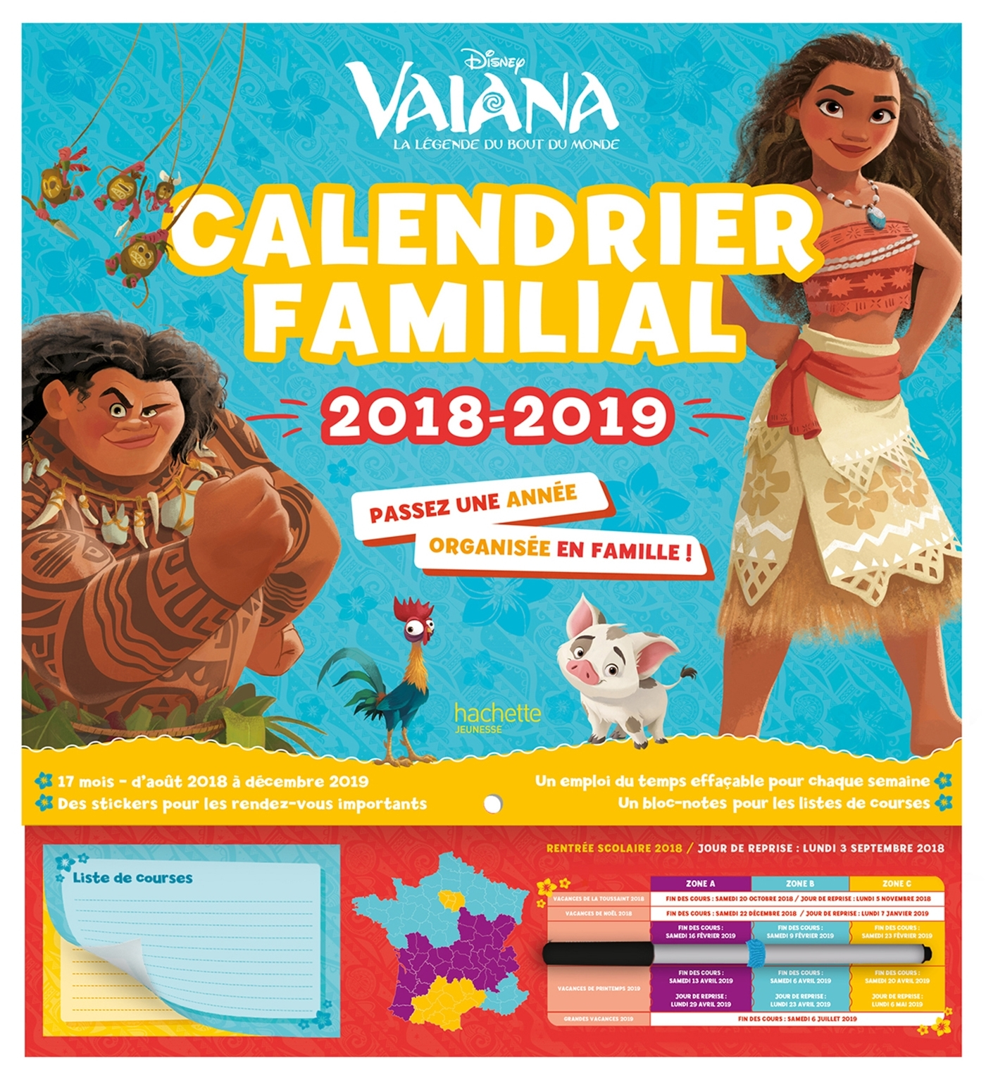 VAIANA - CALENDRIER FAMILIAL - UNE ANNEE ORGANISEE