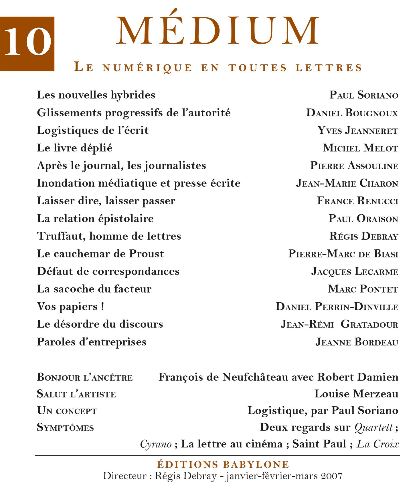 Médium n°10, janvier-mars 2007