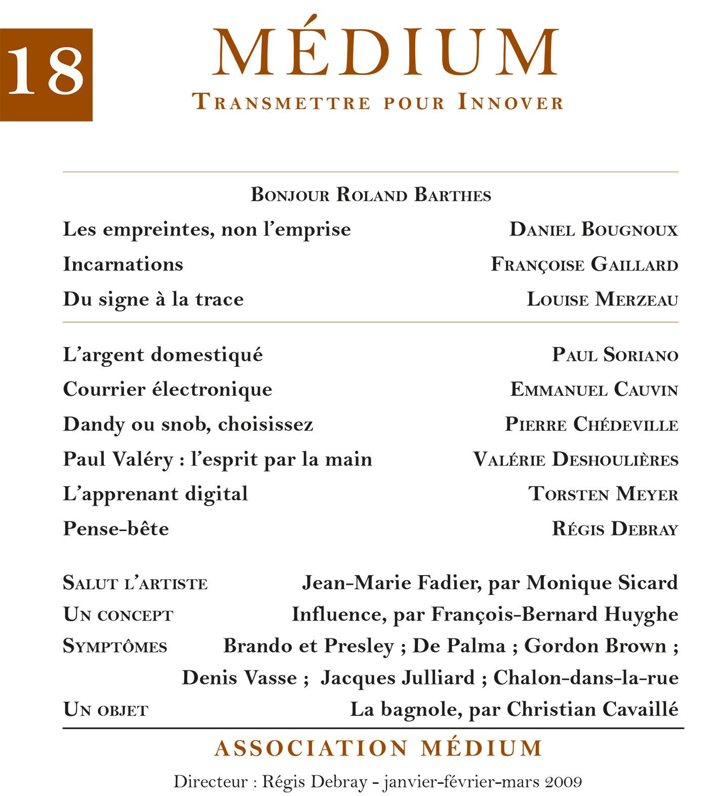 Médium n°18, janvier-mars 2009