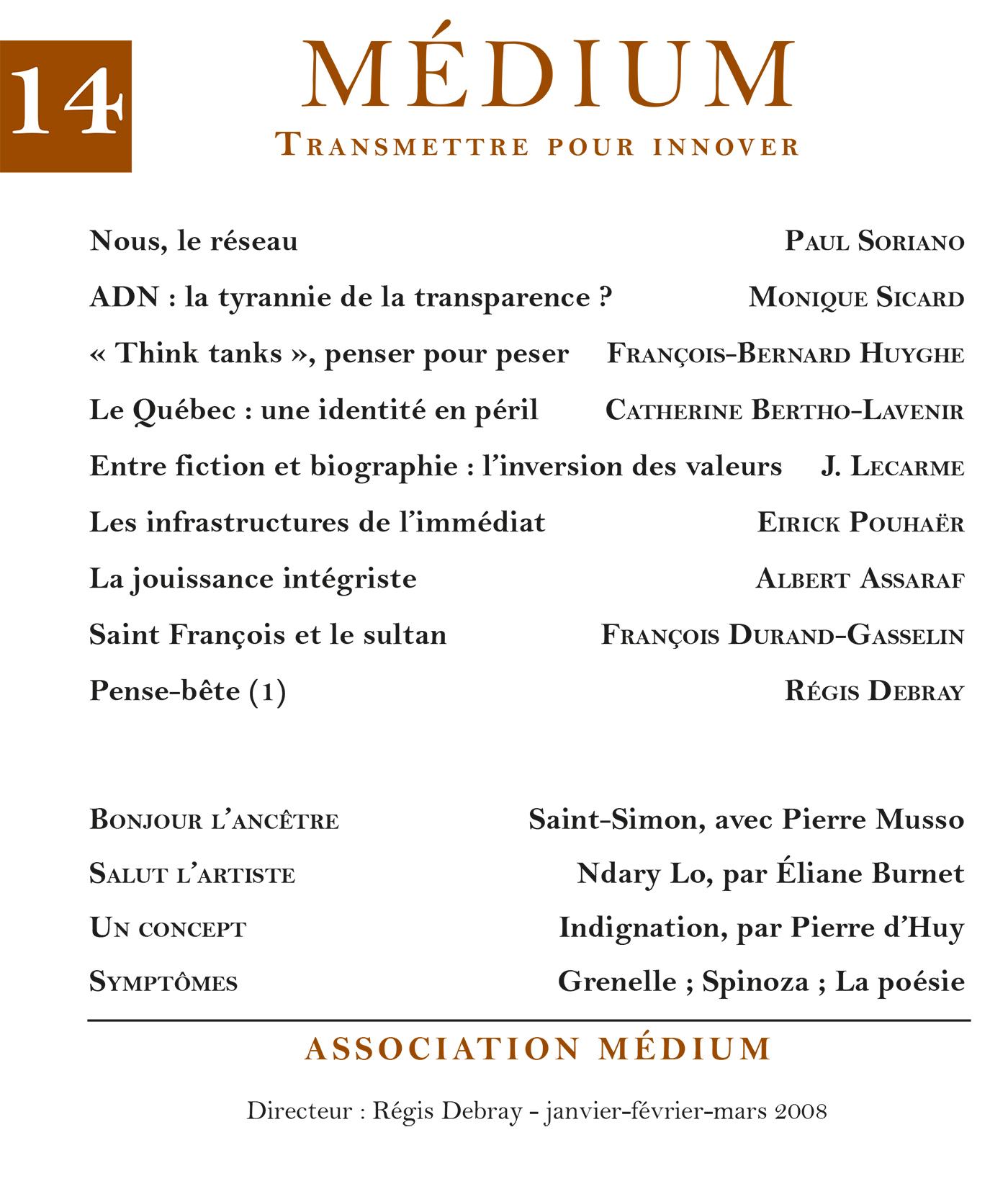 Médium n°14, janvier-mars 2008