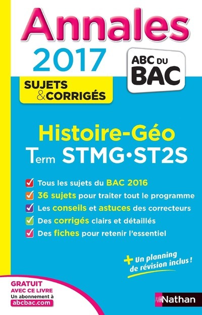 ANNALES BAC 2017 HISTOIRE-GEO TERM STMG-ST2S - CORRIGES