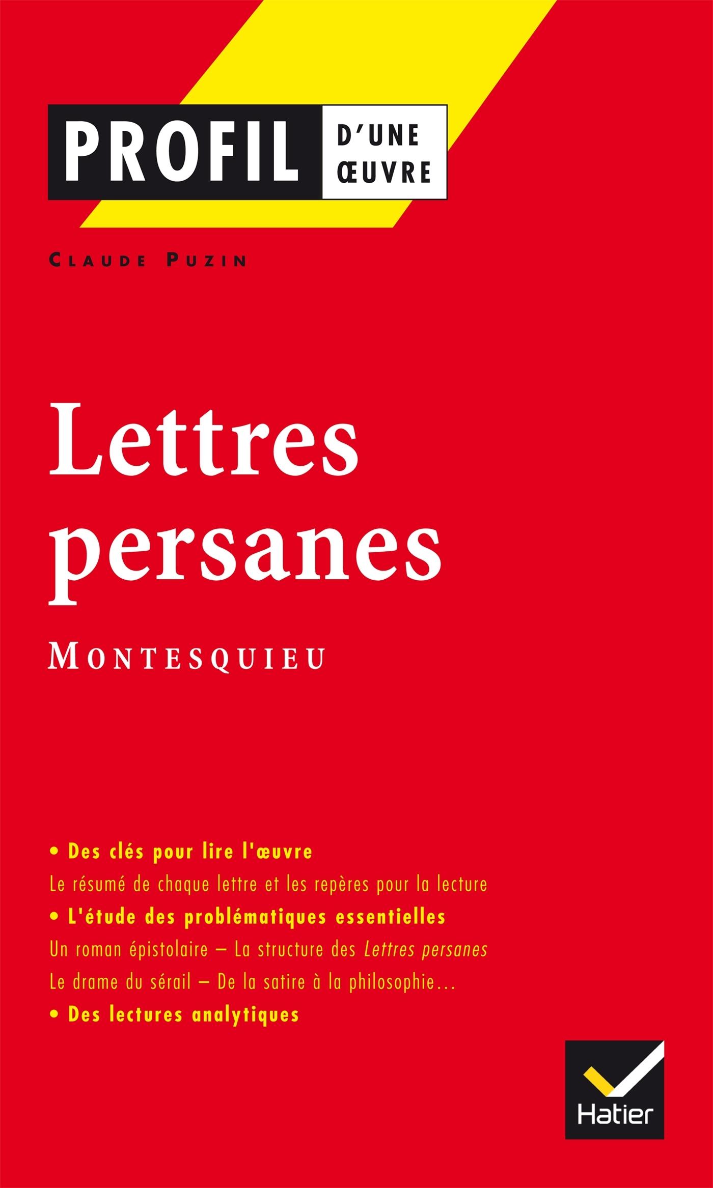 PROFIL - MONTESQUIEU : LETTRES PERSANES