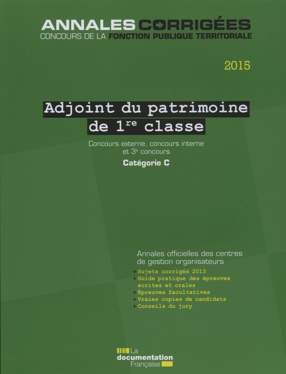 ADJOINT DU PATRIMOINE DE 1RE CLASSE 2015 - AC N 53