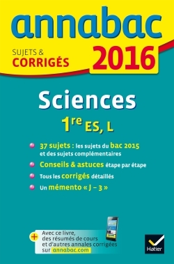 ANNALES ANNABAC 2016 SCIENCES 1RE ES, L