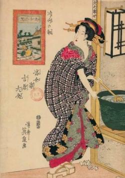 CARNET ESTAMPE FEMME A SA LESSIVE, JAPON 19E