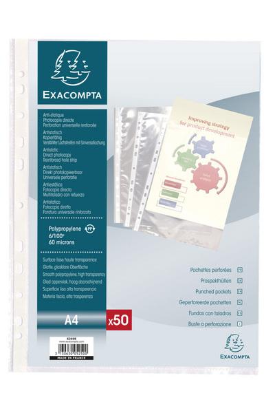 SACHET DE 50 POCHETTES PERFOREES POLYPROPYLENE LISSE 6X100E - A4