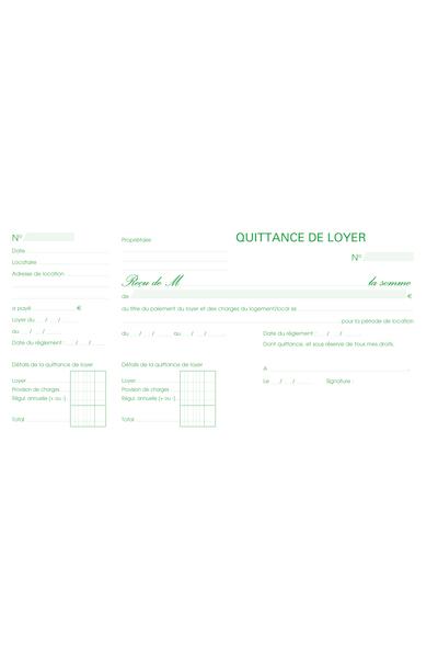 """CARNET A SOUCHE """"QUITTANCES DE LOYER"""" 13,5X18,5CM - 50 FEUILLETS"""