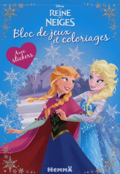 DISNEY LA REINE DES NEIGES BLOC DE JEUX ET COLORIAGES AVEC STICKERS (ANNA-ELSA)