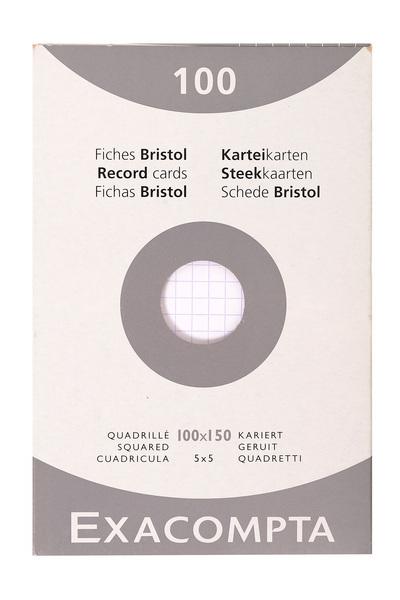 ETUI DE 100 FICHES BRISTOL BLANC - QUADRILLE NON PERFORE 100X150MM