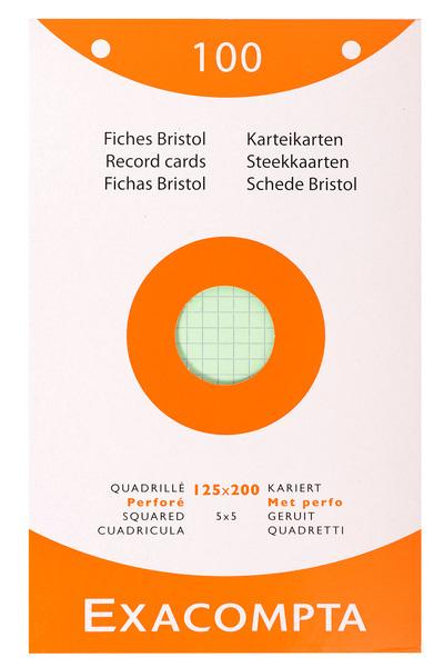 ETUI DE 100 FICHES BRISTOL COULEURS - QUADRILLE PERFORE 125X200MM