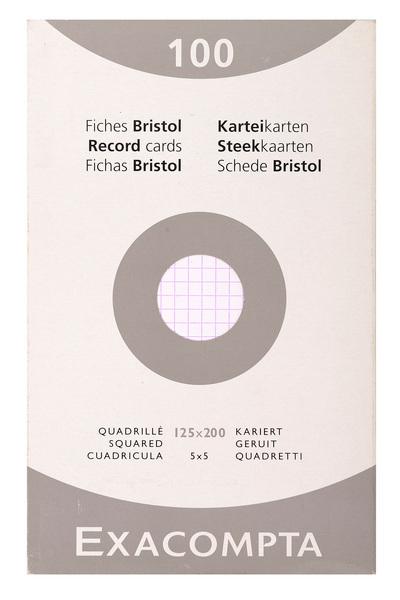 ETUI DE 100 FICHES BRISTOL BLANC - QUADRILLE NON PERFORE 125X200MM