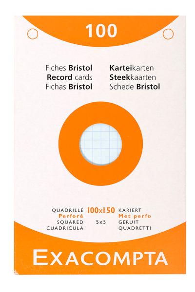 ETUI DE 100 FICHES BRISTOL - QUADRILLE PERFORE 100X150MM