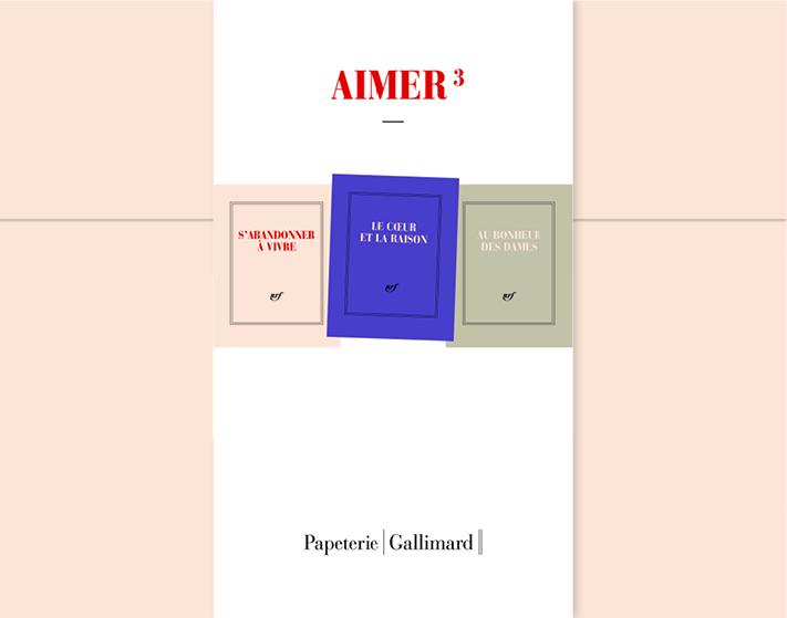 COFFRET AIMER : PAPETERIE BLANCHE GALLIMARD CARNET CARRE