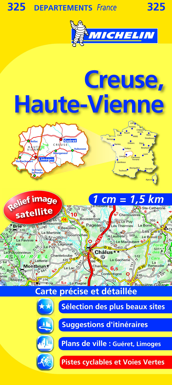 CARTE DEPARMENTALE 325 CREUSE/HAUTE-VIENNE