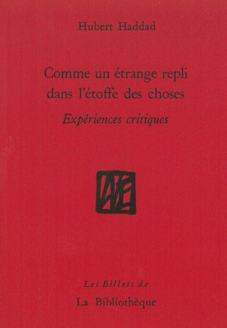 COMME UN ETRANGE REPLI DANS L'ETOFFE DES CHOSES