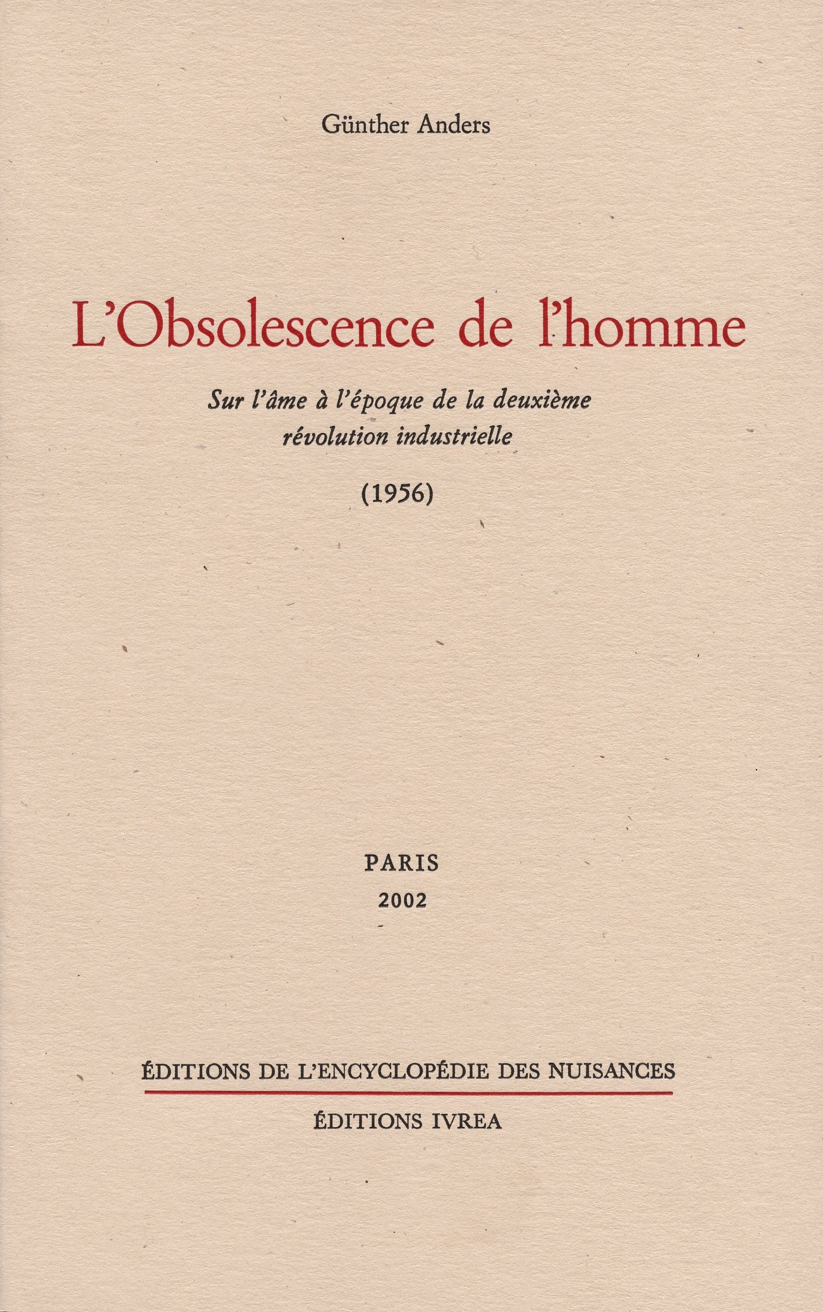 OBSOLESCENCE DE L'HOMME (L')