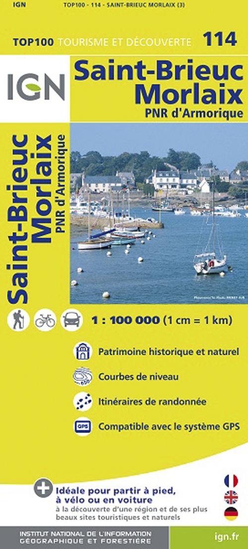 TOP100114 ST-BRIEUC/MORLAIX  1/100.000.