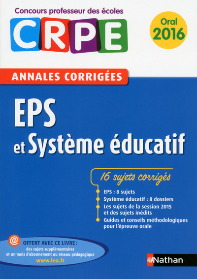 EPS ET SYSTEME EDUCATIF - ANNALES CORRIGEES ORAL 2016