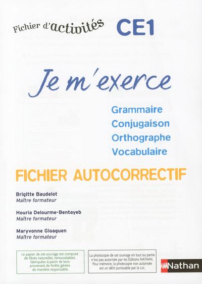 JE M'EXERCE CE1 -AUTOCORRECTIF