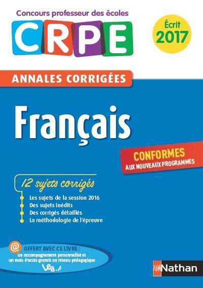 FRANCAIS - ANNALES CORRIGEES CRPE ECRIT 2016
