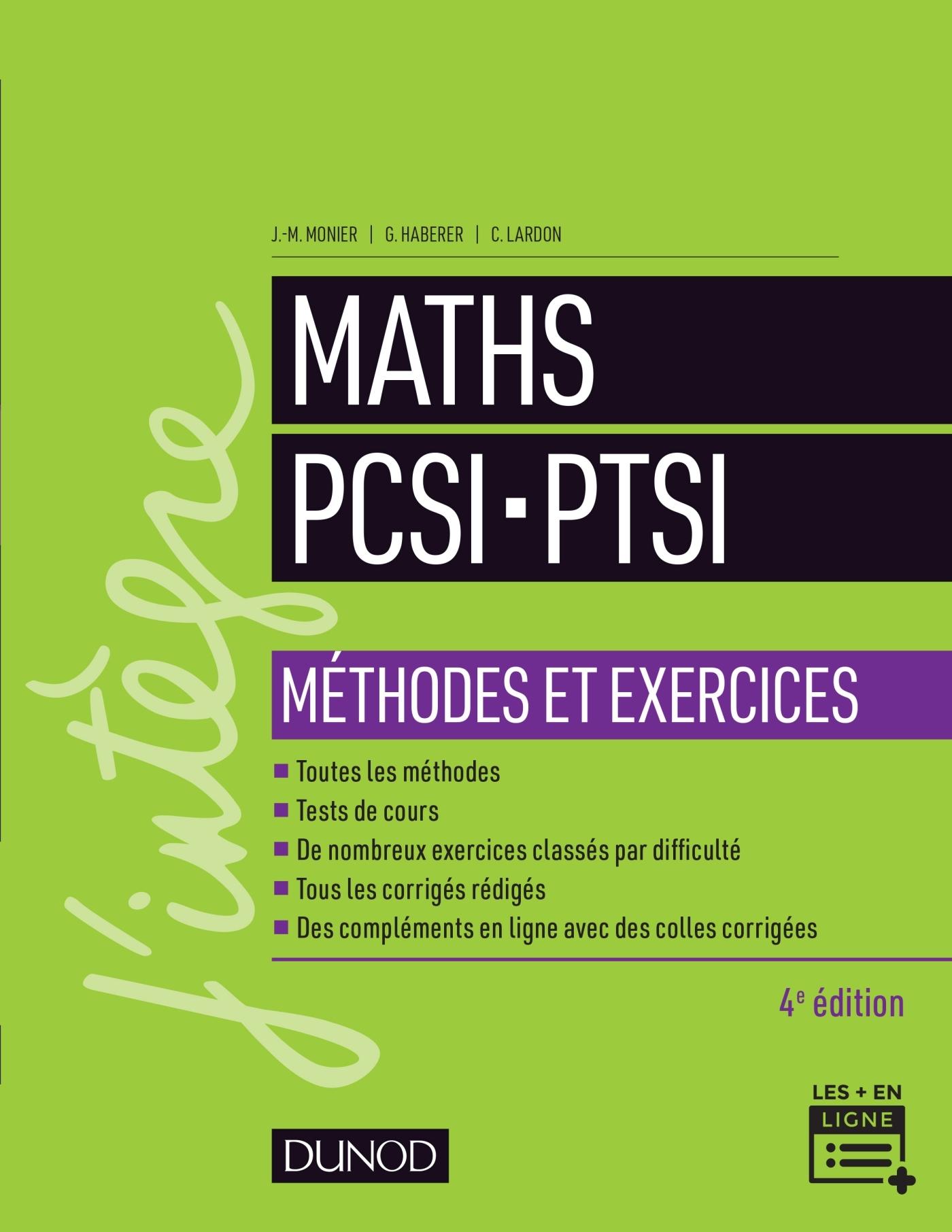 MATHS PCSI-PTSI - METHODES ET EXERCICES- 4E ED.