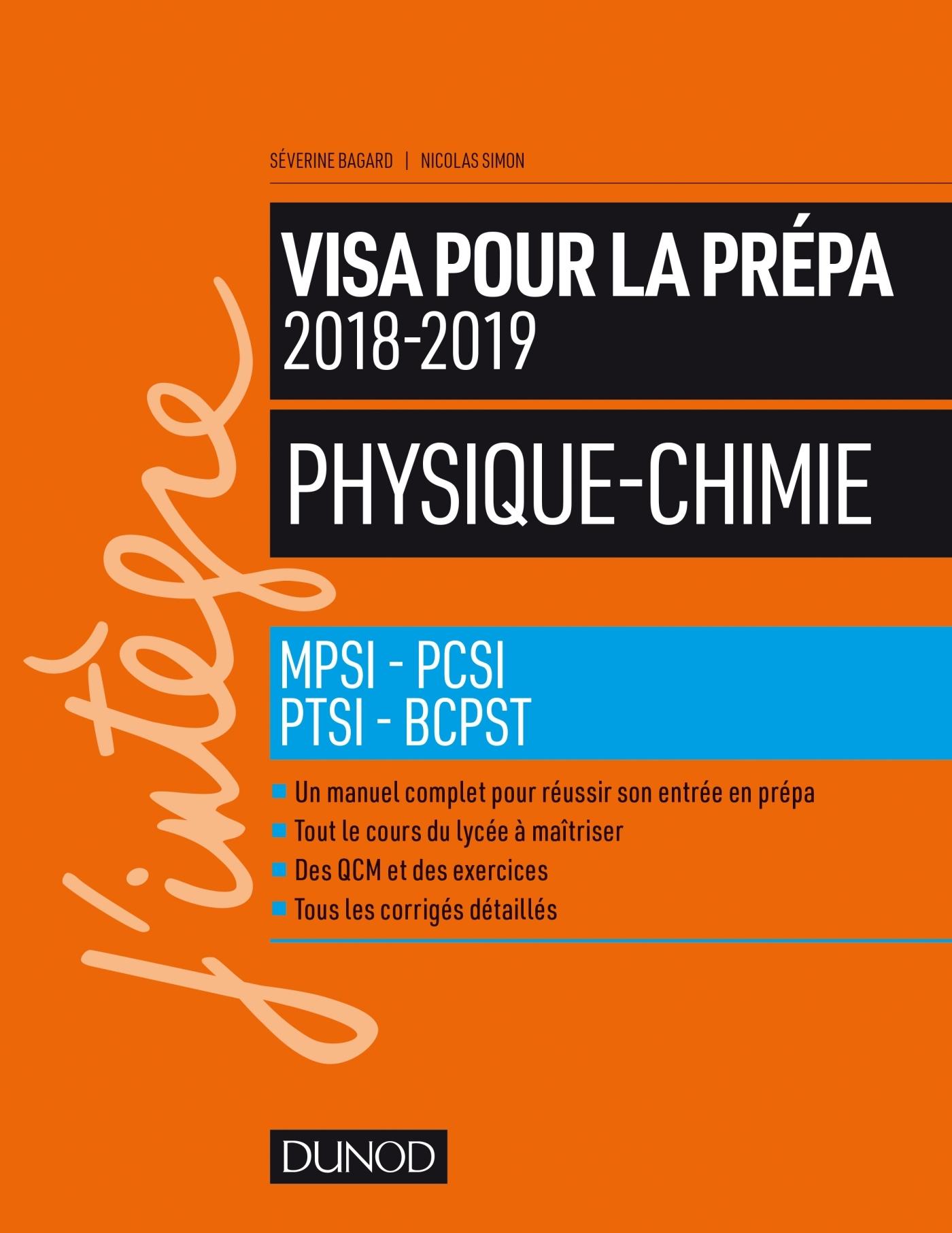 PHYSIQUE-CHIMIE - VISA POUR LA PREPA 2018-2019- MPSI-PCSI-PTSI-BCPST 2018-2019