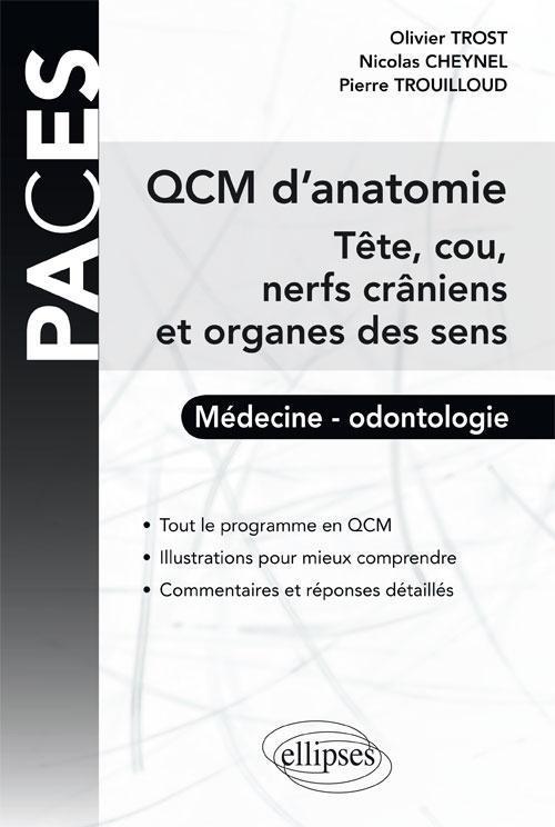 QCM D'ANATOMIE TETE COU NERFS CRANIENS ET ORGANES DES SENS MEDECINE ODONTOLOGIE UE5
