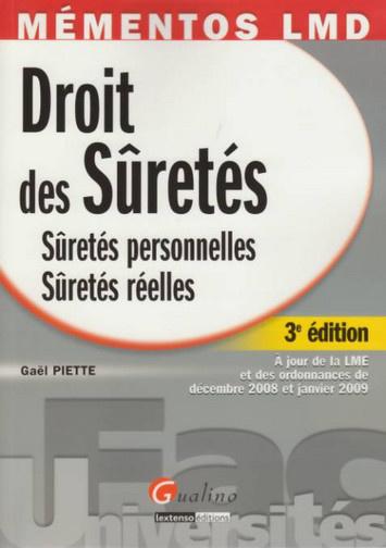 MEMENTOS LMD. DROIT DES SURETES, 3EME EDITION