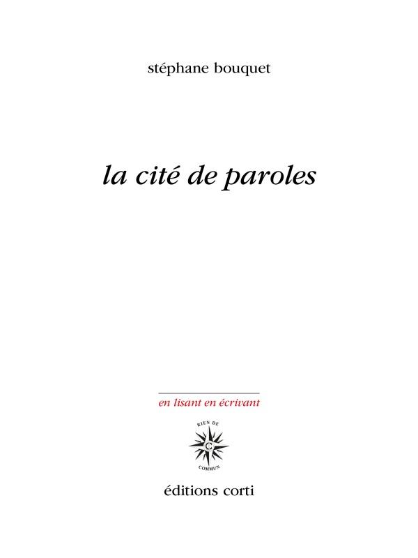 LA CITE DE PAROLES
