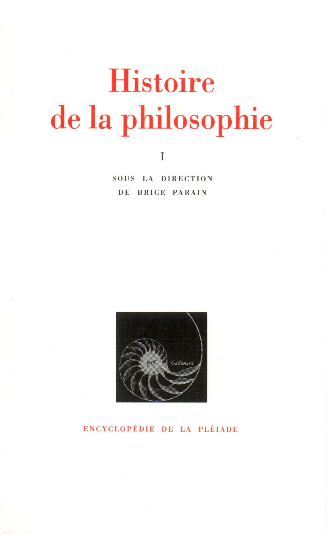 HISTOIRE DE LA PHILOSOPHIE T1