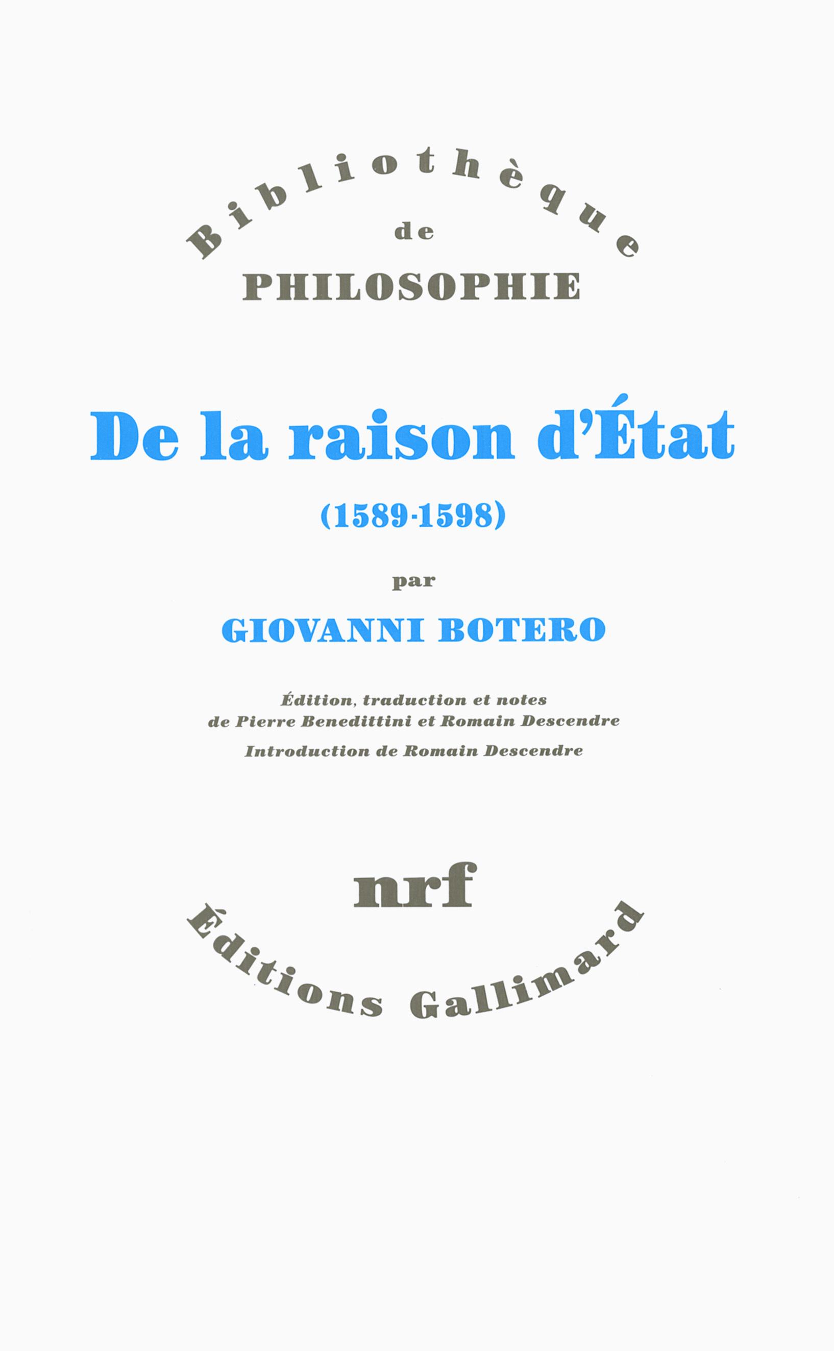 DE LA RAISON D'ETAT (1589-1598)