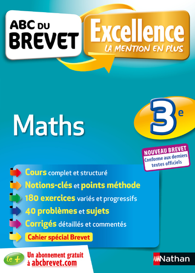 ABC DU BREVET EXCELLENCE MATHS 3E - NOUVEAU BREVET