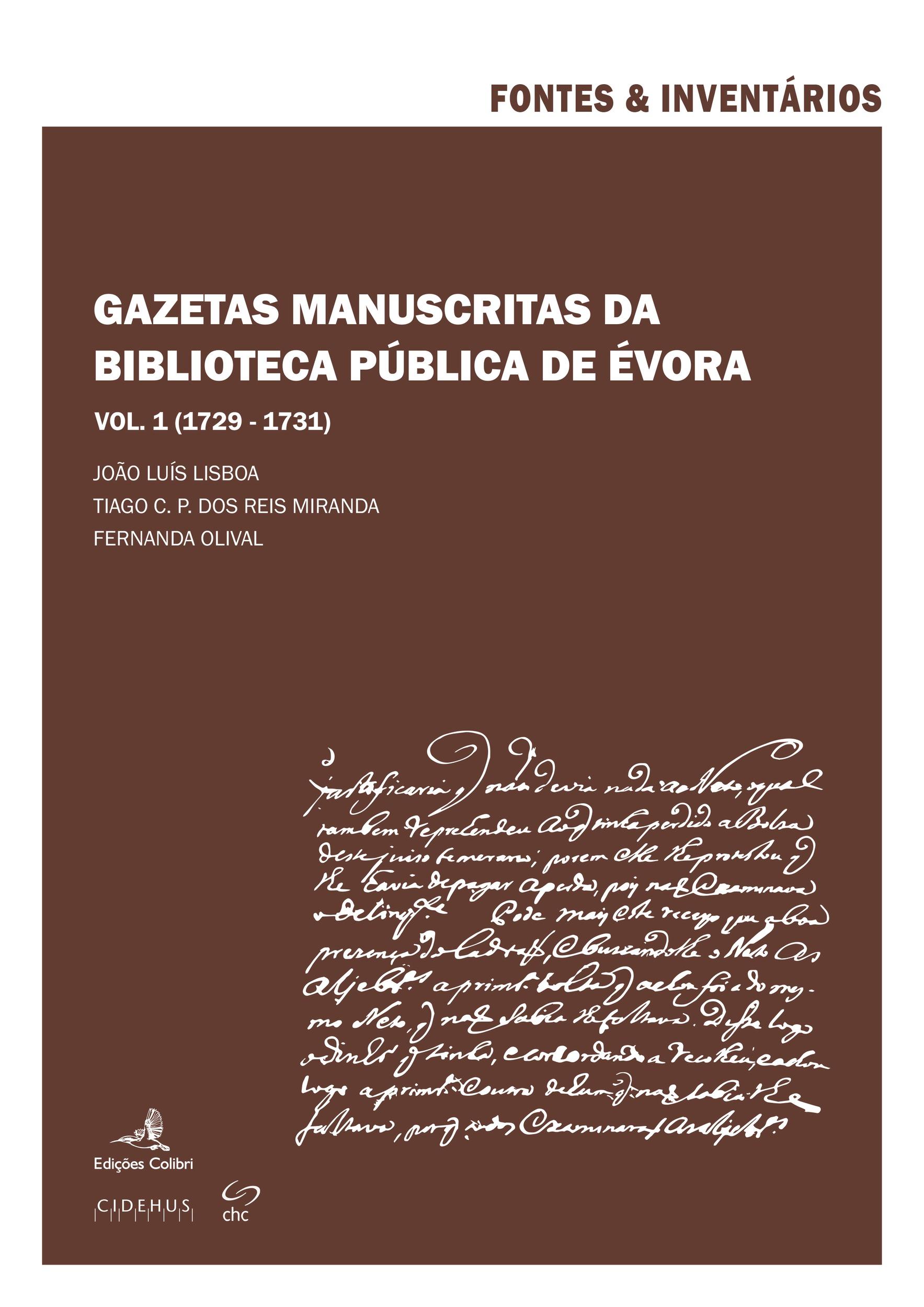 Gazetas Manuscritas da Biblioteca Pública de Évora. Vol. 1 (1729-1731)