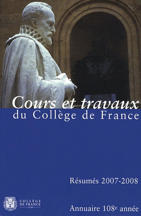 108 | 2008 - Annuaire 2007-2008 - Annuaire CDF, RÉSUMÉ DES COURS ET TRAVAUX