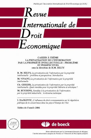 REVUE INTERNATIONALE DE DROIT ECONOMIQUE 2006/4