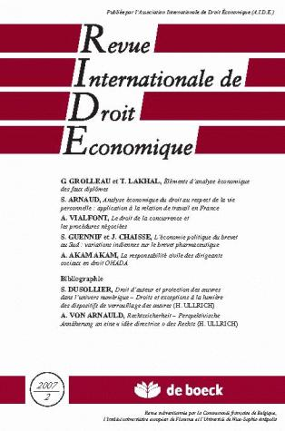 REVUE INTERNATIONALE DE DROIT ECONOMIQUE 2007/2