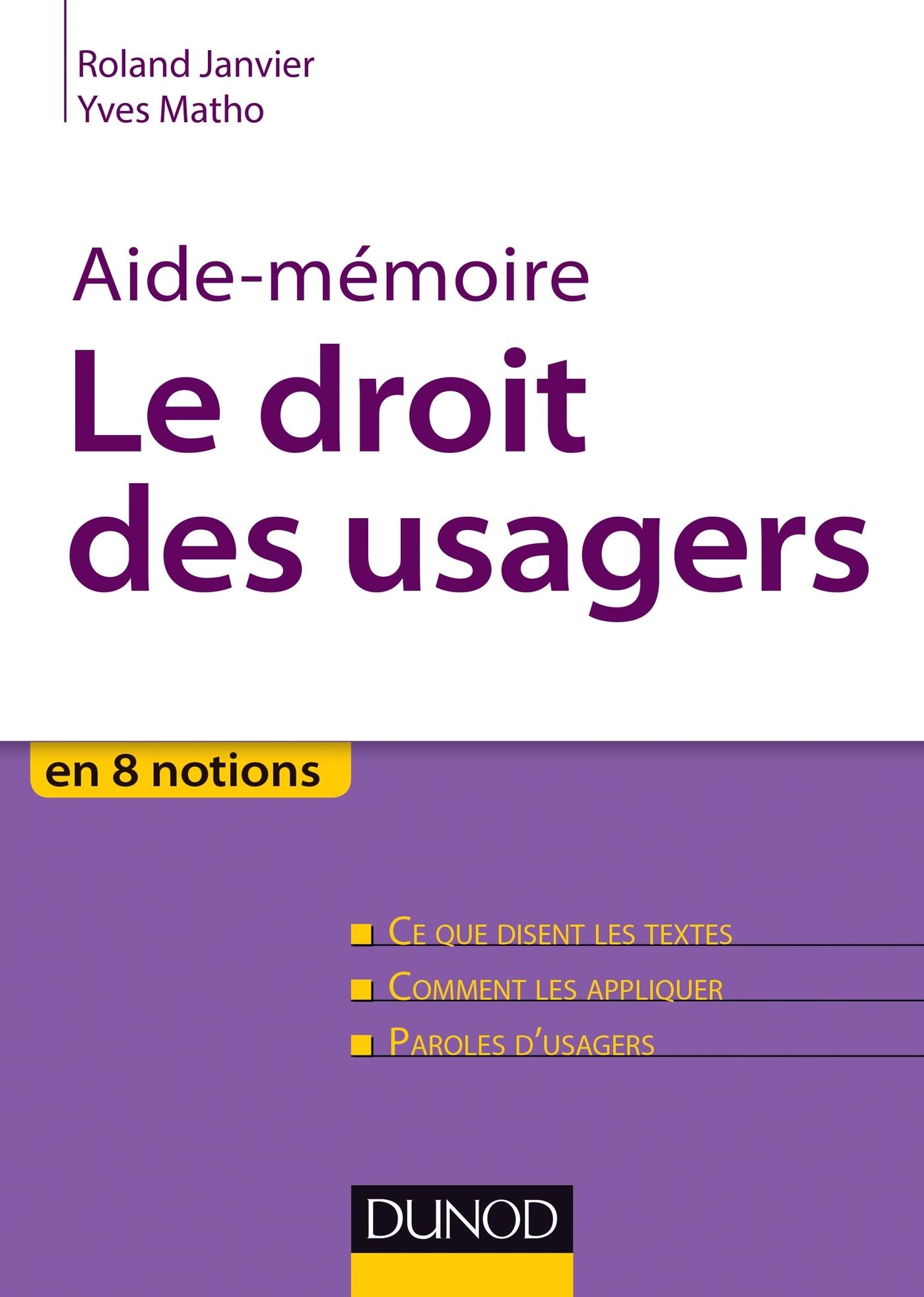 AIDE-MEMOIRE - LE DROIT DES USAGERS