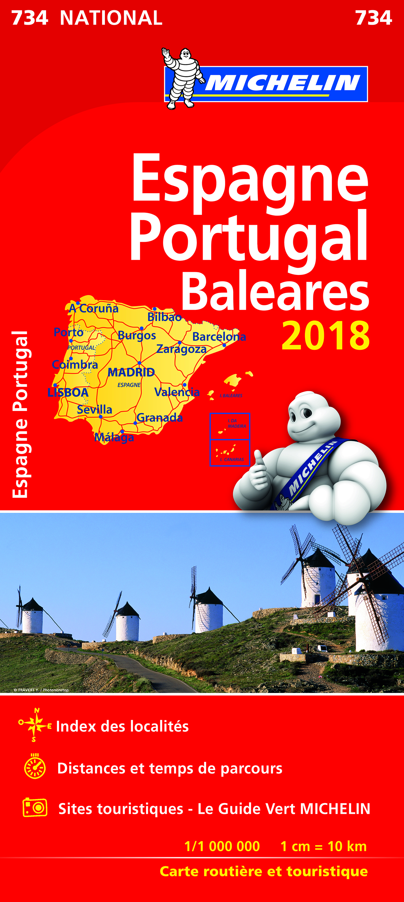 CARTE NATIONALE 734 ESPAGNE PORTUGAL 2018