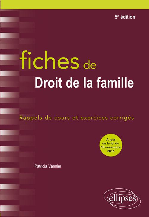 FICHES DE DROIT DE LA FAMILLE 5E EDITION