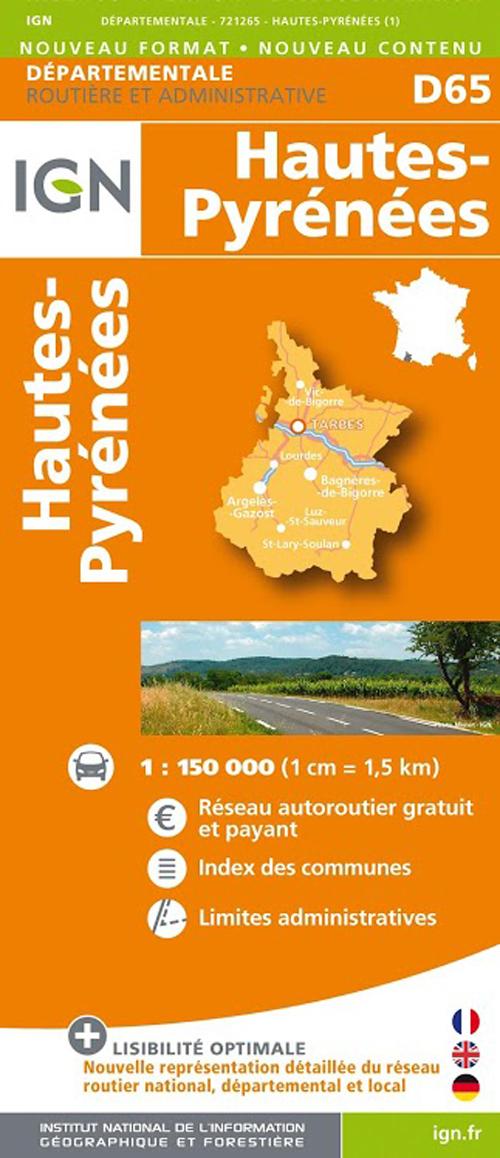 D65 HAUTES-PYRENEES  1/150.000