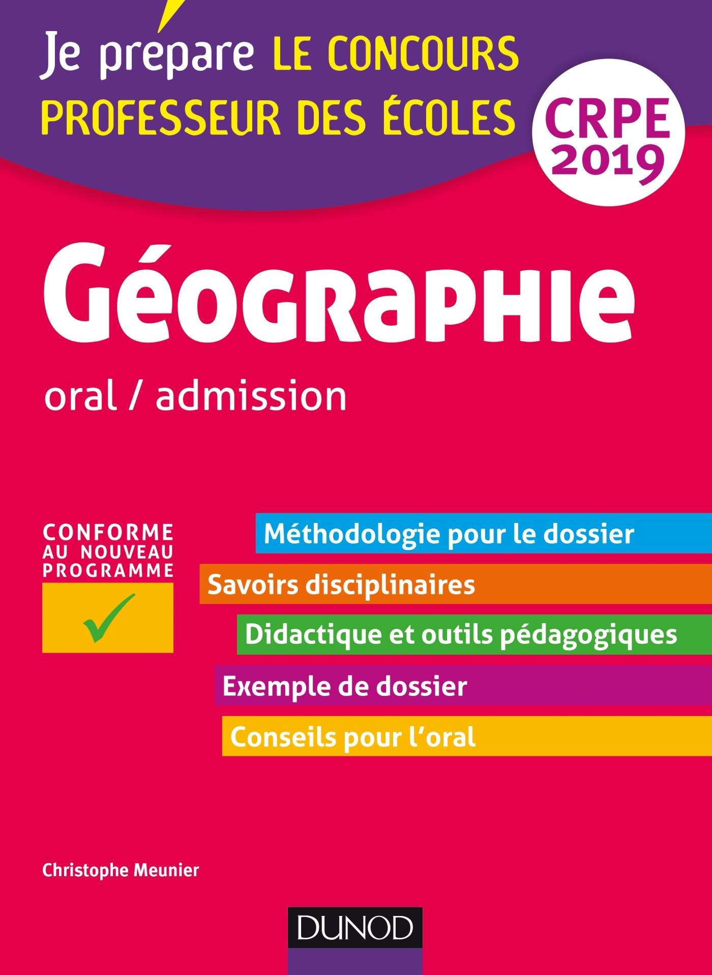 GEOGRAPHIE - PROFESSEUR DES ECOLES - ORAL / ADMISSION - CRPE 2019