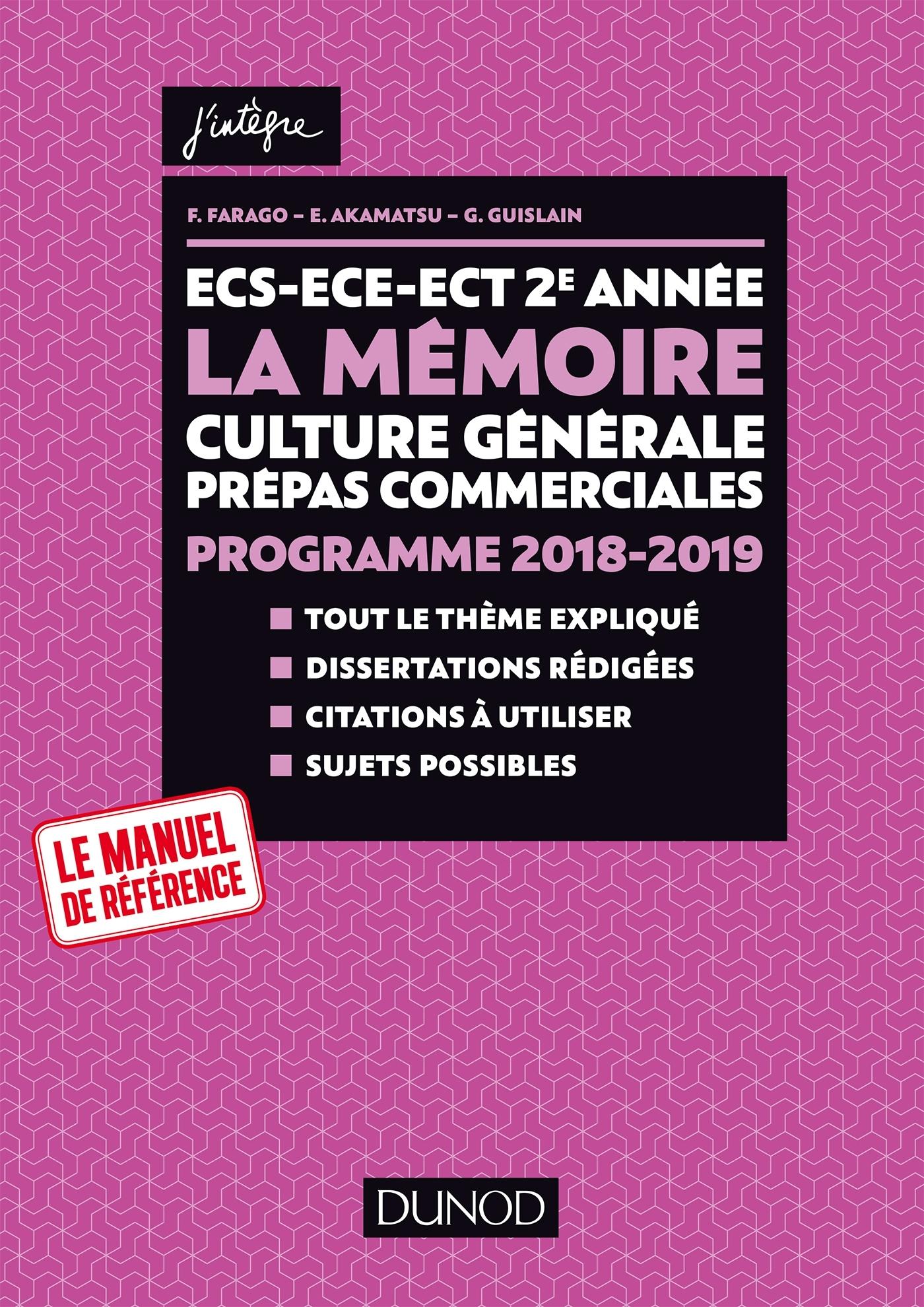 ECS-ECE-ECT 2E ANNEE - LA MEMOIRE - CULTURE GENERALE PREPAS COMMERCIALES - PROGRAMME 2018-2019