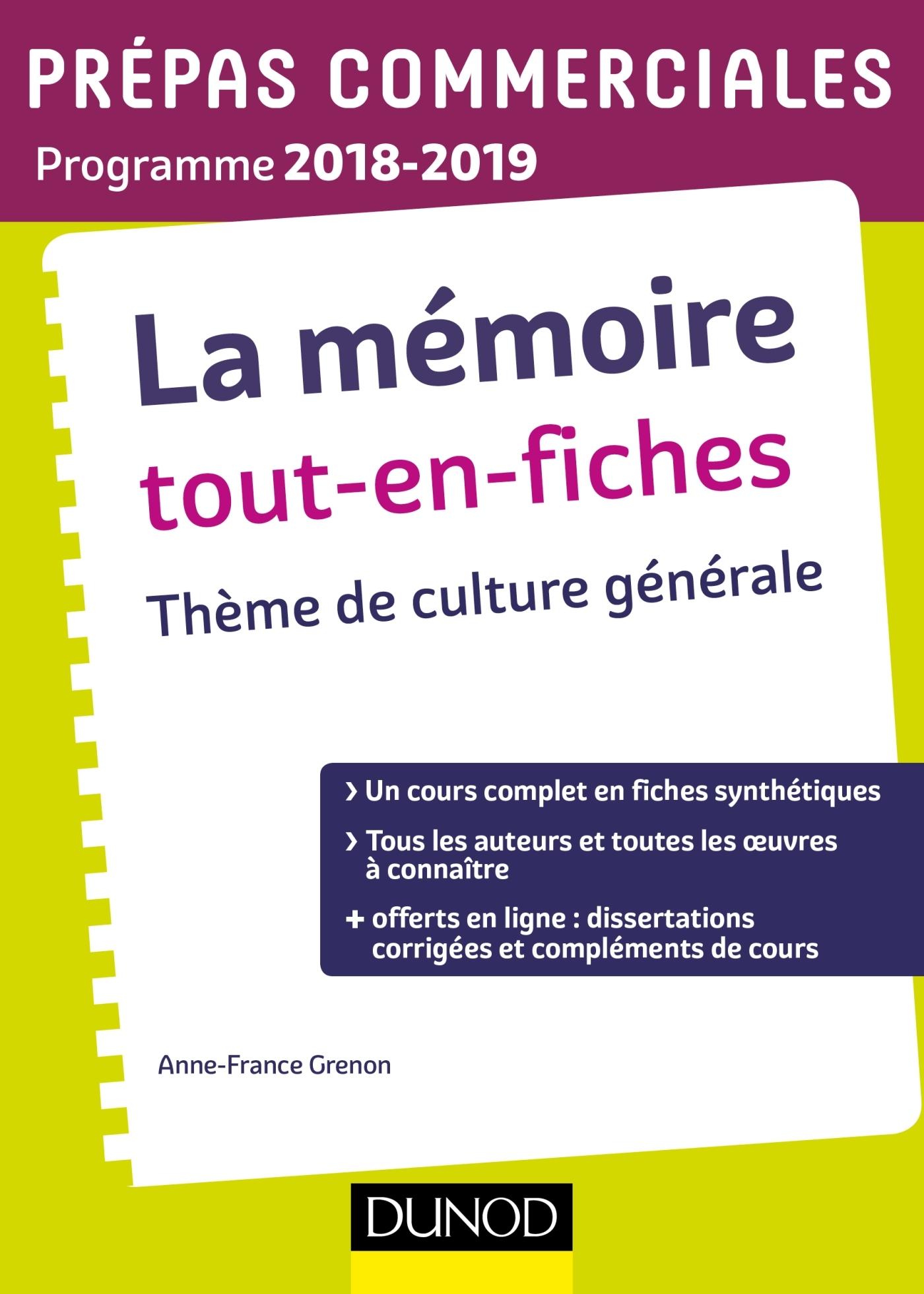 LA MEMOIRE TOUT-EN-FICHES - THEME DE CULTURE GENERALE PREPAS COMMERCIALES 2018-2019