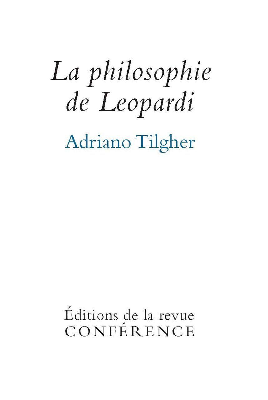 PHILOSOPHIE DE LEOPARDI (LA)