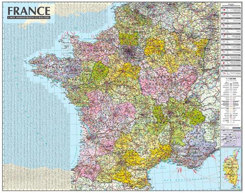 FRANCE 1/1M050 (CARTE MURALE LAMINEE - AVEC BARRES